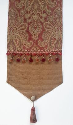 Elegant Chenille Table Runner, Gold, Rust Damask Design- Size 75 in. x 15 in. by CVDesigns on Etsy