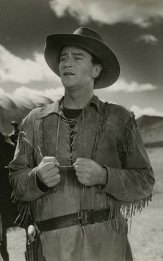 John Wayne in Red River...Sept. 1948.  movie #98.  Directed by Howard Hawks.  with Montgomery Clift, Joanne Dru, Walter Brennan.