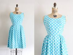 vintage 1960s dress // 60s blue polka dot day by TrunkofDresses, $115.00