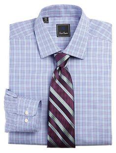 David Donahue Check Dress Shirt
