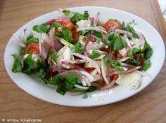 Mossarella med rödlök tomat och basilika