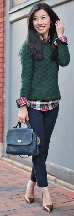 Outfit Posts: guest outfit post - sister week: red plaid shirt, green sweater, black skinny jean, burgundy pumps