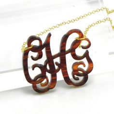 Tortoise Shell Monogram Necklace Acrylic - I would love one of these. $28.00 via Etsy.