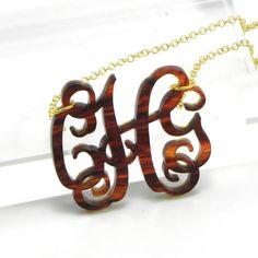 Tortoise Shell Monogram Necklace Acrylic - Personalized Gift for Bridesmaids - Custom Laser Cut Acrylic Jewelry. $28.00, via Etsy.