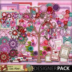 Two Fourteen Digital Scrapbook kit, valentine clip art, valentine scrapbook, rosettes, valentine tree, flairs, map pointers, word art tags, love scrapbook