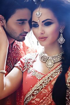 Indian wedding photography. Couple photo shoot ideas. Indian bride wearing bridal saree and jewelry. #IndianBridalHairstyle #IndianBridalMakeup #IndianBridalFashion