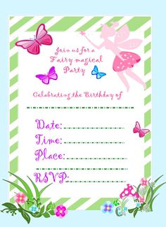 Catching Colorfliess Vendor Listing Fairy Party InvitationsPrintable