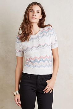 linen sweaterknit pullover top with pastel chevron. Moth Pointelle Chevron Pullover