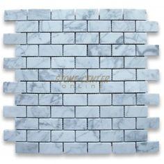 Stone Center: Carrara White 1x2 Medium Brick Mosaic Tile Honed - Marble from Italy - Mosaics - Carrara White;  Master Bath shower floor  $ 9.99 / sheet;