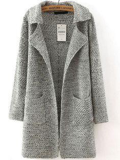 Grey Lapel Long Sleeve Pockets Sweater Coat -SheIn(Sheinside) Mobile Site
