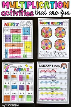 10 Worksheets Number Sentences Multiplying by 3 Multiplication Number Lines Multiplication Activities, Math Activities, Numeracy, Math Games, Third Grade Math, Second Grade, Grade 3, Math Graphic Organizers, Primary Maths