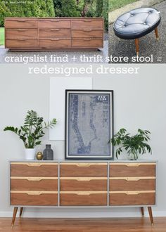 Craigslist Find + Thrift Store Stool = Redesigned Dresser - before and after Grey and Natural WalnutMid Century Dresser Makeover