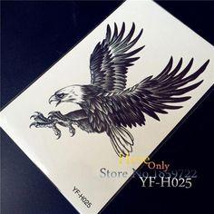 29e5e4c7e 3D Large Black Eagle Tattoo Stickers For Men YF-H025 White hawk Removable  waterproof tattoo