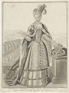 Anonymous   Portret van Christina Ewartina van Saksen, Anonymous, Pieter Schenk (I), unknown, 1675 - 1711   Christina Ewartina, hertogin van Saksen met veren in het haar. Naast haar de kroon.