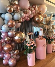 Obsessed with this birthday set up 🎉💛🙌🏽 #theeventcollectivex #events #eventspace #eventstyling #eventplanning #birthdaystyling #balloons… Shower Party, Bridal Shower, Shower Cake, Baby Shower Decorations, Wedding Decorations, Parties Decorations, Baby Decor, Baby Shower Balloon Ideas, 18th Birthday Party Ideas Decoration