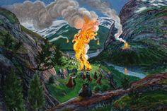 About strange lands and people: 'Midsummer Eve Bonfire', after c.1917, by Nikolai Astrup