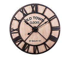 Reloj de pared en madera y hierro - Ø91,5 cm