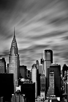 Manhattan, New York Skyline. Ling Exposure Fine Art Black and White Photography