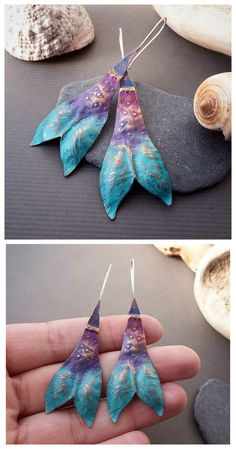 Twin Fin earrings by Alice Savage. One of a kind, copper and sterling silver artisan jewelry with colorful patina. Statement, fun jewelry, hippie, wild, bohemian, mermaid, ocean, magic