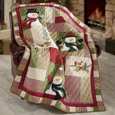 Nostalgic Christmas throw blanket has patchwork quilt-style construction, dimensional appliqued snowmen, hand-stitched details and embroidered highlights. Quilted with fabric-bound edges. Decorate Now, Pay Later with Country Door Credit! Patchwork Quilting, Applique Quilts, Christmas Quilt Patterns, Christmas Sewing, Christmas Snowman, Christmas Quilting Projects, Christmas Patchwork, Winter Christmas, Handmade Christmas
