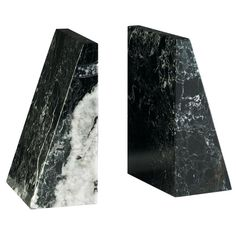 Black Zebra Tapered Marble Bookends