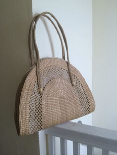 LARGE Vintage Half Circle Straw Tote // 1970s Mr. Ernest shoulder bag // 70s woven purse