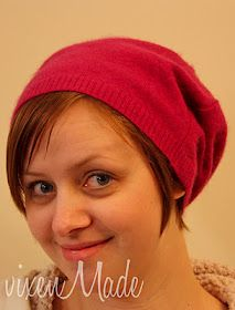 Recycled sweater slouch hat!