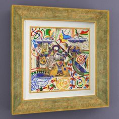 """Raphael Abecassis Signed """"Psalms"""" Original 15.5"""" x 15.5"""" Mixed Media Painting 1/1 (Framed to 25.5"""" x 25.5"""") at Pristine Auction"""