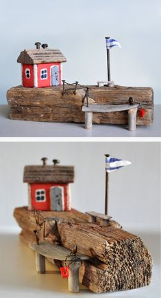 kleine, maritime Szenerien und Skulpturen gebaut aus Treibholz und Strandgut für die Wand oder zum Aufstellen.