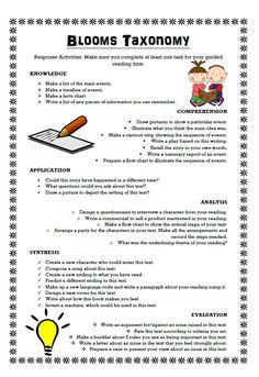 Great resource to use in guided reading sessions. This gives some great ideas that students can complete which relate to Blooms Taxonomy. Laminate it and use it in guided reading activities and sessions