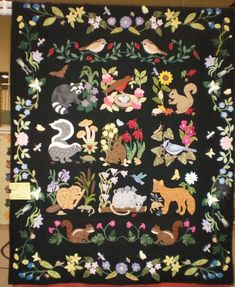 """Blue ribbon winning quilt """"Woodland Creatures"""" made by member Drue on . Wool Applique, Applique Patterns, Applique Quilts, Quilt Patterns, Wool Embroidery, Mini Quilts, Baby Quilts, Quilting Projects, Quilting Designs"""