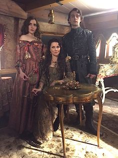 Mercy, Countess Marburg and Sebastian on the set of Salem. Costumes made in house.