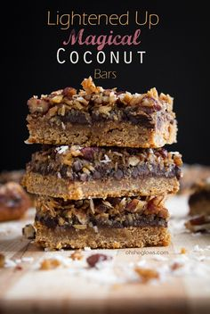 Yum! Dig in to this recipe from Oh She Glows: Lightened Up Magical Coconut Bars.
