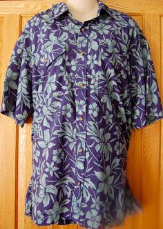 VINTAGE Mens LL BEAN Button Down Shirt HAWAIIAN Floral XL 90s TROPICAL Beach BG1…