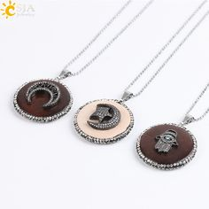 CSJA Coffee Round Wood CZ Beads Pendants Boho Maxi Necklaces Statement Fatima Hamsa Hand Four-leaf Clover Half Moon Jewelry E579 #Affiliate