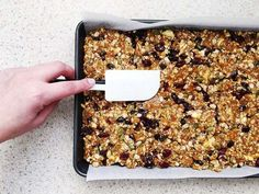 Lets cook muesli slice Museli Bar Recipe, Healthy Muesli Bar Recipe, Homemade Muesli Bars, Muesli Recipe, Healthy Snacks, Vegan Snacks, Whole Food Recipes, Snack Recipes, Cooking Recipes
