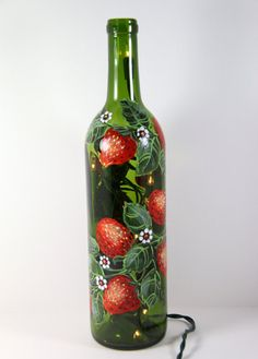 Hand Painted Wine Bottle Light With Strawberries, Green and Red, Accent Light, Painted Fruit Decor