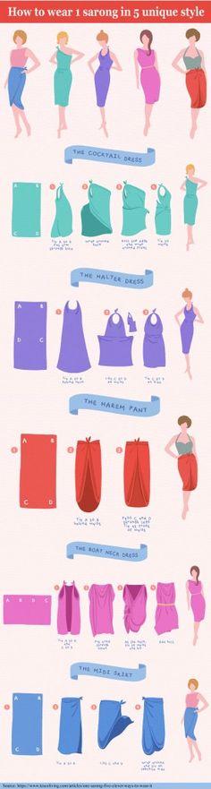 Fashion infographic & data visualisation 9 Styles to tie a Sarong You will definitely love Infographic Description sarong infographics – Infographic Source – Look Fashion, Diy Fashion, Ideias Fashion, Womens Fashion, Fashion Tips, Fashion Design, Convertible Clothing, Fashion Infographic, Diy Kleidung