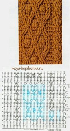 Crochet Cable Stitch, Crochet Stitches Chart, Gilet Crochet, Crochet Motif Patterns, Crochet Diagram, Knitting Stitches, Stitch Patterns, Knit Crochet, Knitting Patterns