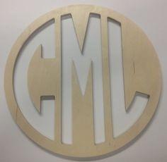 Wood Monogram Block Font Circle Cut Sign