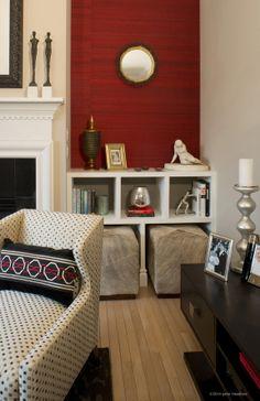 Livingroom eclectic mid-century modern-contemporary wallpaperbuilt-ins Dan Davis Designs, LLC Dan Davis - Ferndale, MI