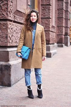 Shop this look for $354:  http://lookastic.com/women/looks/overcoat-and-overalls-and-turtleneck-and-satchel-bag-and-socks-and-ankle-boots/1241  — Camel Coat  — Light Blue Denim Overalls  — Charcoal Turtleneck  — Aquamarine Leather Satchel Bag  — Black Polka Dot Silk Socks  — Black Suede Ankle Boots