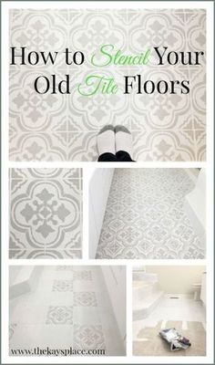 painting tile floors Learn how to stencil your floors like a pro. It is much easier than you think! Stenciled Tile Floor, Bathroom Floor Tiles, Floor Stencil, Bathroom Stencil, Bathroom Mold, Tile Stencils, Tile Bathrooms, Bathroom Vinyl, Condo Bathroom