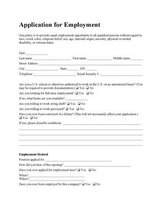 Job Application Form - Free PDF Employment Download