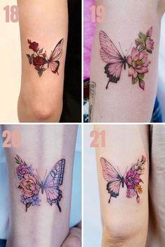 Elegant Tattoos, Cute Tattoos, Beautiful Tattoos, Tattoos For Guys, Rose And Butterfly Tattoo, Butterfly Tattoos For Women, Quarter Sleeve Tattoos, Sleeve Tattoos For Women, Shoulder Tattoo Quotes