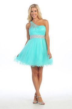 One shoulder short cocktail party prom dress with beaded waist and shoulder.