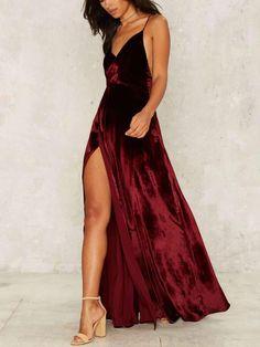 Backless Slit Strap V-Neck Velvet Long Dress. #dress #impressionen ong party wear dresses | long party wear dresses gowns | long party wear dresses indian | long party wear dresses beautiful | long party wear dresses black laces |