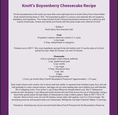 Knott's Boysenberry Cheesecake Recipe