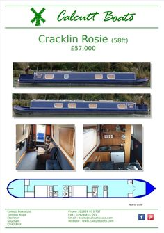 2011 58-Ft Pro-Build Hull with a Black Prince Fit Out. Powered by a Canaline 42 with a PRM 150 Gearbox. 2011 58-ft. Accommodation from the stern; Entering through the rear to the first bedroom, double bed which can be made into two single beds. Bathroom has a shower, pump out toilet and washbasin. Second double bed. Galley with gas cooker, SS sink and 12v fridge. Saloon is a big open plan space with furniture and a multi fuel stove.  Boats Safety until Mar 2021. Canal Boat Holidays, Pro Builds, Multi Fuel Stove, Boat Safety, Single Beds, Have A Shower, Boats For Sale, Heating Systems, Double Beds