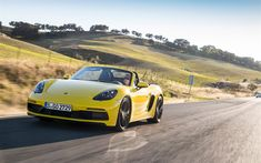 Download wallpapers Porsche 718 Boxster, road, 2018 cars, yellow 718 Boxster, supercars, Porsche